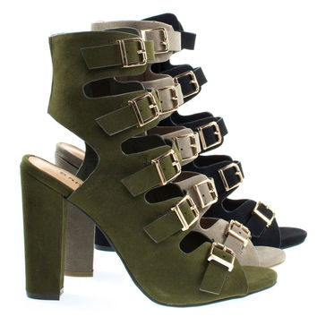 Limelight24m By Bamboo, Military Combat Gladiator Block Heel Ankle Bootie, Open Peep Toes