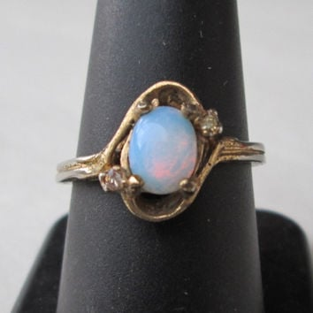 Vintage Opal Triplet Ring Size 8 Lots of Fire 14K GE