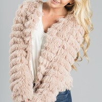 Elle Blush-Beige Faux Fur Jacket