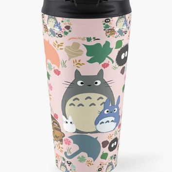 Pink Totoro Kawaii My Neighbor Travel Mug Christmas Cup Tea Coffee Drink Anime Soot Manga Catbus Hayao Miyazaki Studio Ghibli Forest Tumbler