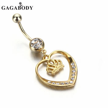1PC 14G Gold-Plated Heart Dangle Belly Button Ring - Body Jewlery