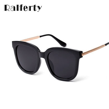 Ralferty Korean Oversized Square Sunglasses Women Men Luxury Brand Big Black Sun Glasses Mirror Shades lunette femme Oculos 1060