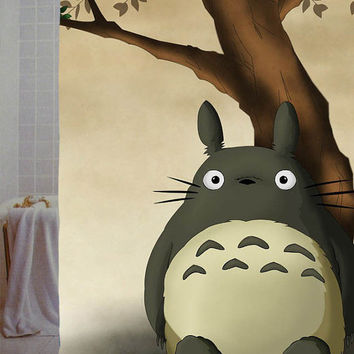 "totoro Custom Shower Curtain available size 66"" x 72"", 60"" x 72"",48"" x 72"""
