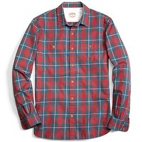 Men's Blue and Red Homespun Checkered Sport Shirt