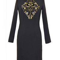 Black Beaded Embroidered Long Sleeve Bodycon Mini Dress