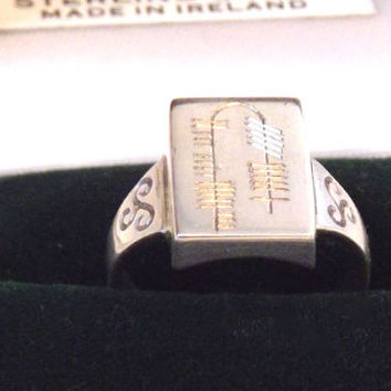 Vintage Sterling Silver Ireland Old Ogham Alphabet Signet Ring