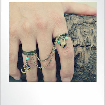Two Bronze Finger Ring chain drape, Turquoise&OM Charm/Bohemian/Yoga/hippie/gypsy/tribal/Slave ring/handmade by Inali