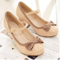 New Fall 2013 Retro Lovely Beige Bow Shoes from Moooh!!