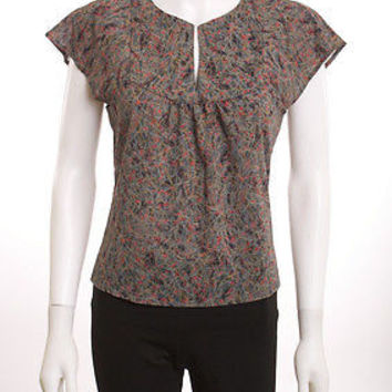 BCBG MAX AZRIA OPEN FRONT YOKE BUTTERFLY SET IN SLEEVE MULTI-COLOR BLOUSE SZ 4
