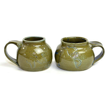 World Globe Art Pottery Mugs - Handmade, Formed Clay Coffee Cups Hand Stamped with Map Outlines, Avocado Green & Blue Glaze - Vintage Decor