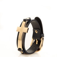 Cross Belt Leather Cuff