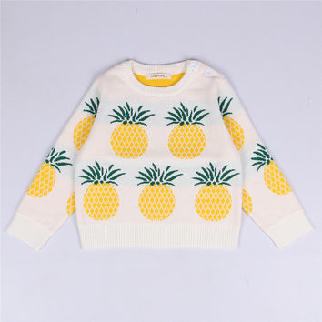 2017 new autumn and winter knitting sweater boy girl baby sweater white yellow pineapple pattern