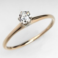 Antique Claw Diamond Engagement Ring 14K Gold