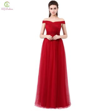 SSYFashion Wine Red Long Evening Dress the Bride Banquet Elegant Boat Neck Soft Tulle Prom Dress Custom Plus Size Formal Dresses