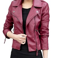 Womens Pu Faux Leather Slim Fit Zip Up Moto Biker Jacket Coat