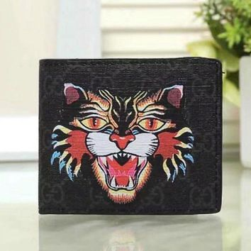 DCCK GUCCI Woman Men Fashion Angry Cat Clutch Bag Leather Purse Wallet2