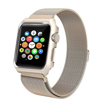 Compatible for Apple Watch Band with Case 38mm, Stainless Steel Mesh Milanese Loop with Adjustable Magnetic Closure Replacement Wristband iWatch Band for Apple Watch Series 3 2 1 - Gold