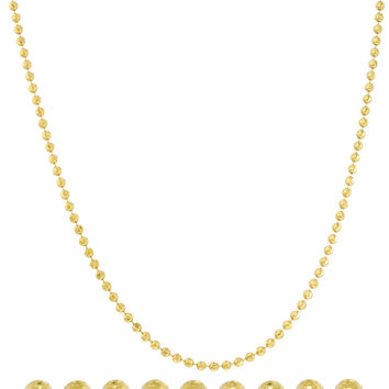 14K Yellow Gold 2mm Moon Cut Necklace 26inch