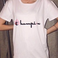"""Champion"" Fashion Gucci Peppa Pig Unisex Casual Summer Spoof Print Short Sleeve Round Collar Couple Cotton T-Shirt Pullover Top I-JZP-36"