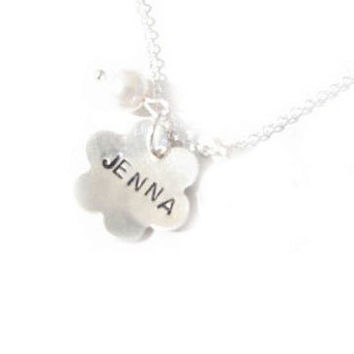Sterling Silver Flower Necklace Personalized Hand Stamped Dome Pendant Gift Birthday Wedding