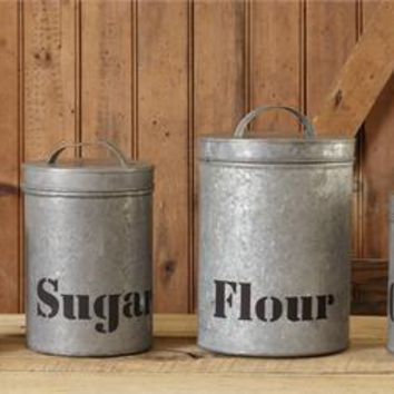 Set of 4 Galvanized Tin Canisters Flour Sugar Tea Coffee