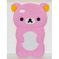 Teddy Bear Soft Silicone Case for Apple Ipod Touch 4 / 4th / 4G / itouch Gen Generation 8GB 16GB 32GB Mp3 Case and Microfiber Bag, Light Pink