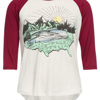 Full Tilt Girls Scenic Usa Raglan Tee Cream  In Sizes