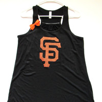 SALE - XL - SF GIANTS TANK - Racerback Tank - Ruffles with Love - Womens Fitness - Workout Clothing - Workout Shirts with Sayings