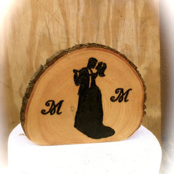 Rustic wedding cake topper wooden groom bride country weddings