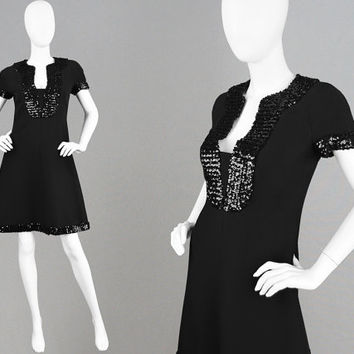 Vintage 60s EMANUEL UNGARO Early Designer Dress Black Crepe Dress 60s Space Age Sequin Dress Beaded Dress Plunging Neckline Mod Shift Dress