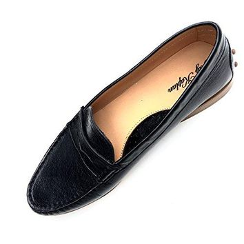 JAY KAPLAN 500 Dollar Womens All Leather Italian Penny Loafer Shoes, Shelby