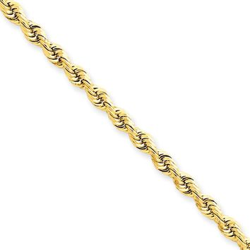 3.28mm, 14k Yellow Gold, Quadruple Rope Chain Anklet or Bracelet, 9in