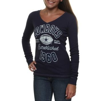 Dallas Cowboys Ladies Relic Long Sleeve Thermal V-Neck T-Shirt - Navy Blue
