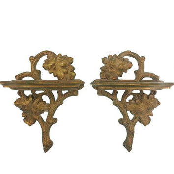 Pair of Vintage Gold Syroco Wall Shelves, Wood Branch and Leaf Detail, Home Wall Decor, Hollywood Regency, French Country, Distressed Style