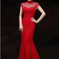 Embellished Blouson Wedding Qipao Mermaid Gown