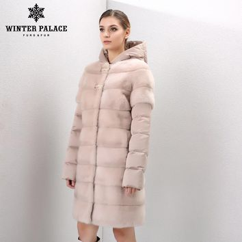 Natural furs women's fur coats vintage fur vest Warm mink fur coat  Down Jackets mink coat women Sleeves and hats can be removed
