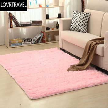 LOVRTRAVEL Square Long Plush Thickened Washed Silk Slip Rug Carpets for Living Room Coffee Table Mat Bedroom Bedside Yoga Mats