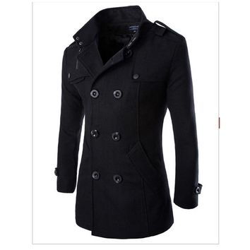 Sportswear Hiking Jackets Autumn Winter Men's Wool Woolen Coat Double Breasted Trench Men Black Outerwear Plus Size 3XL YC905713