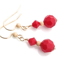 Holiday Earrings, Red and Gold Earring, Red Coral, Swarovski Crystal, Stardust, Gold Dangle, Earwire, Faceted Bead, Gift for Retirement