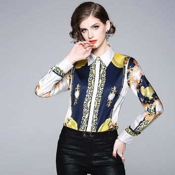 Long Sleeve Blouses Women Shirts Tunic African Traditional Dashiki Patterns Print Turn Down Collar Casual Top female N3629