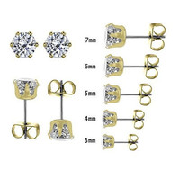 Stainless Steel Round Cz Stud Earrings Set of 5 Includes 3mm 4mm 5mm 6mm 7mm Gold Tone