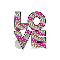 Love Car Decal - Colorful Tribal Geometric Design Bumper Sticker Laptop Decal Pink Green Teal Cute Car Decal Hippie Boho Sticker