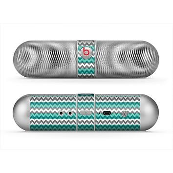 The Vintage Green & White Chevron Pattern V4 Skin for the Beats by Dre Pill Bluetooth Speaker