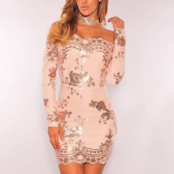 Sequin Off Shoulder Long Sleeve Party Mini Dress Tight Formal Dress