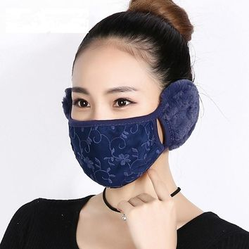 Cute Ear Warmers Anti-Dust Thick Cotton Mouth Mask New Style Multifunction Winter Warm Fashion Design Masks Earmuffs