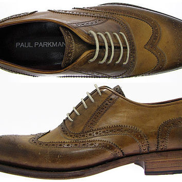 Paul Parkman Men's Wingtip Brogue Oxford Shoes - Antique Burnished Olive Leather Upper & Natural Leather Sole