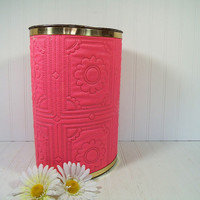 Vintage Groovy Hot Pink Fuschia Textured Vinyl Upholstery Oval Metal Waste Bin - Mid Century Decorative Bright Pink Daisy Design Trash Can