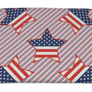 Bath Mat, USA Patriotic Stars Pattern On Red And Blue Stripes American Patriotic Wallpape