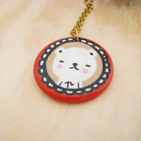 Polar Bear necklace with  handpainted terracotta clay  charm