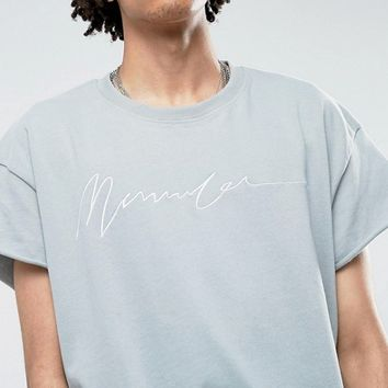 Mennace Regular Fit T-Shirt With Embroidery In Light Blue at asos.com